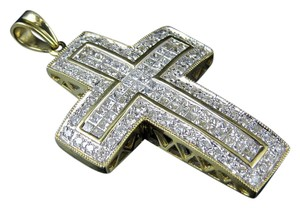 Jewelry Unlimited Iced Cross Princess Cut Real Diamond Charm Pendant 2.25Ct 1.6