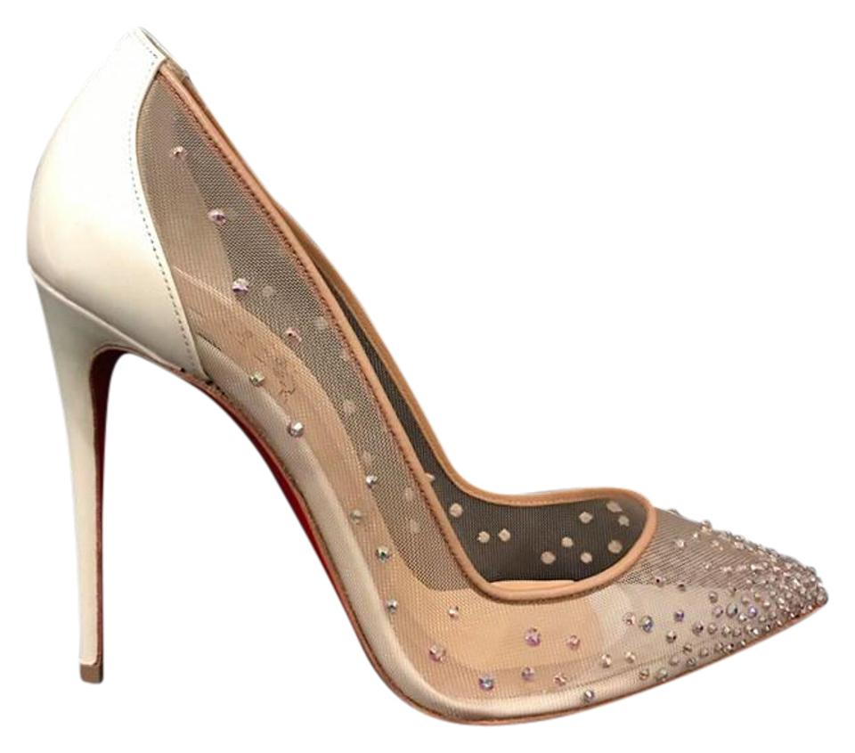 Christian 100 Louboutin White Follies Strass 100 Christian Nude Mesh Pigalle Heel 36 Pumps c24618