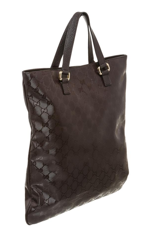 gucci monogram vinyl leather imprime brown tote bag tradesy. Black Bedroom Furniture Sets. Home Design Ideas