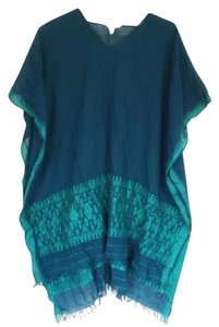 Eileen Fisher Top Teal Linen Caftan Poncho