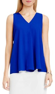 Vince Camuto Drape Front V-neck Sleeveless Blue Tank Top Optic Blue