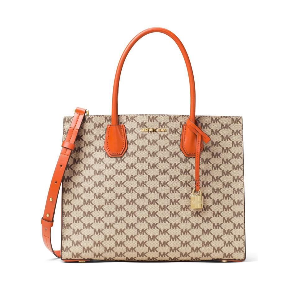 81e036f868c1 MICHAEL Michael Kors Mercer Large Natural Orange Coated Canvas Tote ...
