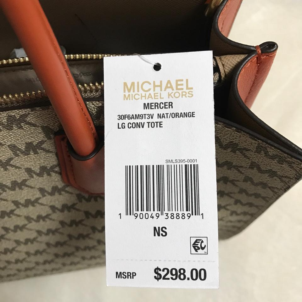 d3f71e4a63b3 MICHAEL Michael Kors Mercer Large Natural/Orange Coated Canvas Tote ...