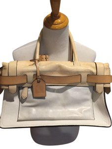 Reed Krakoff Zipper Closure Leather Luggage Tag Satchel in Cream and White