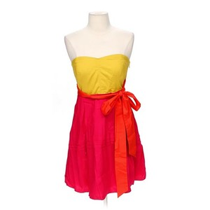Anthropologie short dress Yellow & Pink Strapless Color-blocking Maeve Pin-tuck Sweetheart on Tradesy