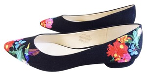 Nine West Speakup Embroidered Flowers Black, Red, Turquoise, Pink, Yellow Flats