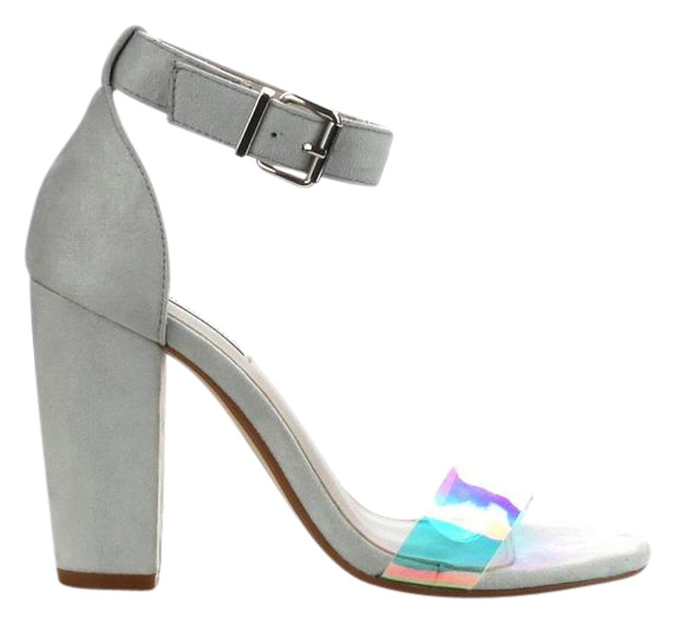 4b8e8c9d7592 Gray Block Heel with Iridescent Toe Strap Sandals Size US 7.5 ...