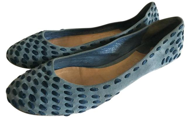 Item - Blue Suede and Satin Ribbon Flats Size US 9 Regular (M, B)