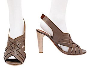 Lanvin Ete 2009 Woven Sandals Olive Brown Pumps