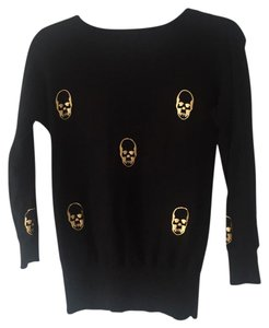 Aqua Cotton Gold Skull Print Sweater