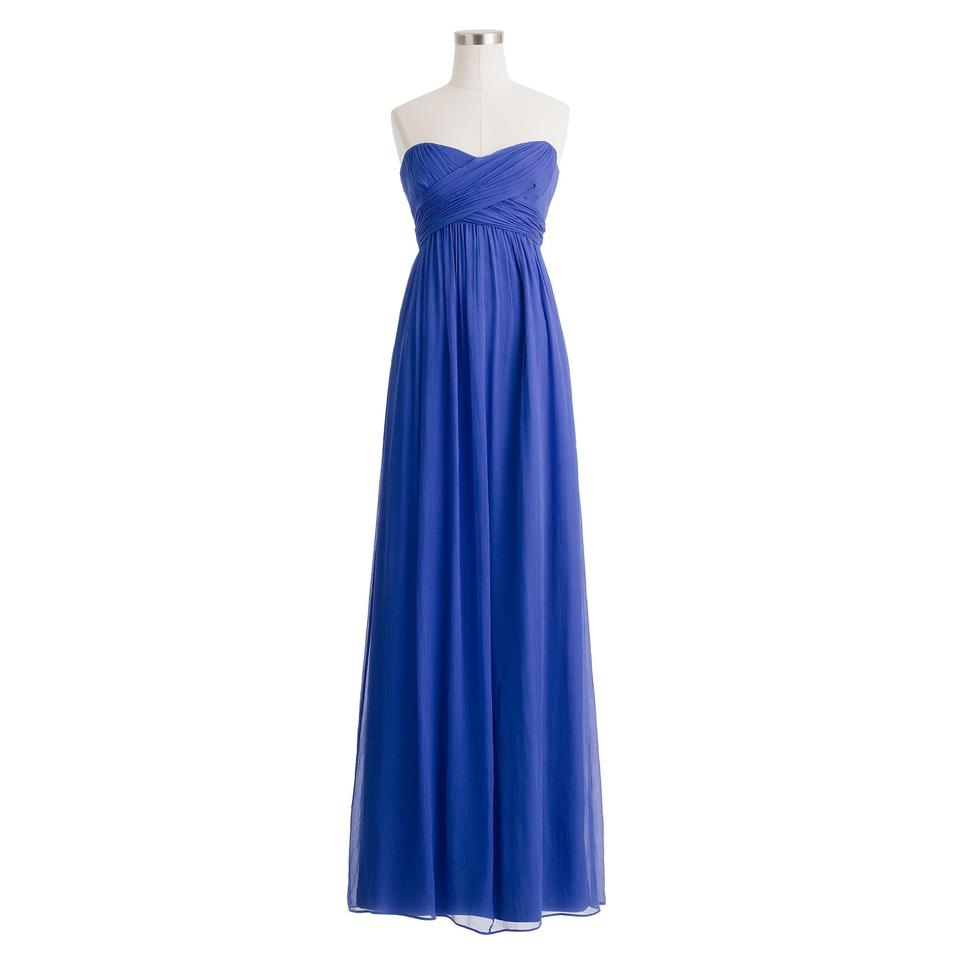 f849f48a47c J.Crew Cobalt Blue Taryn Silk Chiffon Strapless Maxi Long Formal ...