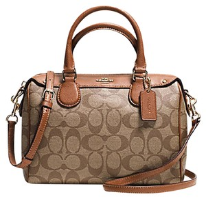Coach Bennett Crossbody Mini Adjustable Satchel in GOLD/BROWN/khaki