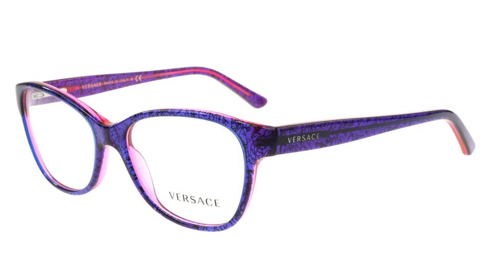 85ee903ca52a8 Versace Rare Floral Cat Eye Purple Pink Blue RX Eyeglasses Frame 3188 5090  Image 0 ...