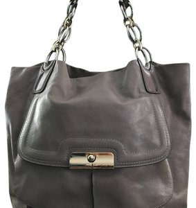 Coach Leather Classic Tote in gray