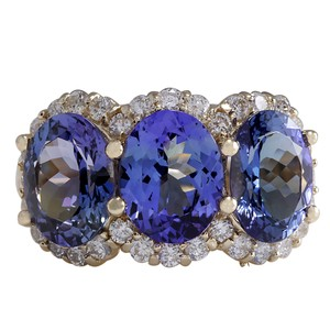 Fashion Strada 7.38CTW Natural Tanzanite And Diamond Ring 14K Solid Yellow Gold