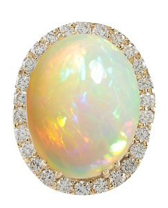 Fashion Strada 15.88CTW Natural Opal And Diamond Ring 14K Solid Yellow Gold
