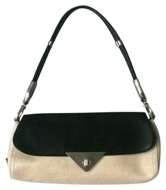 Item - Black and Cream Color Leather Baguette