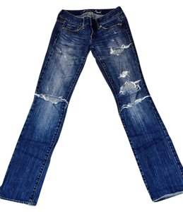 American Eagle Outfitters Distressed Straight Leg Jeans-Distressed