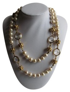 St. John St. John Ivory Pearl Bead and Clear Gripoix Glass 38