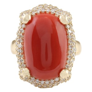 Fashion Strada 12.69 CTW Natural Coral And Diamond Ring In 14k Yellow Gold