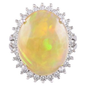 Fashion Strada 13.48 CTW Natural Opal And Diamond Ring In 14k White Gold