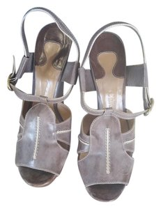 Chloé grey with off white stiching Wedges