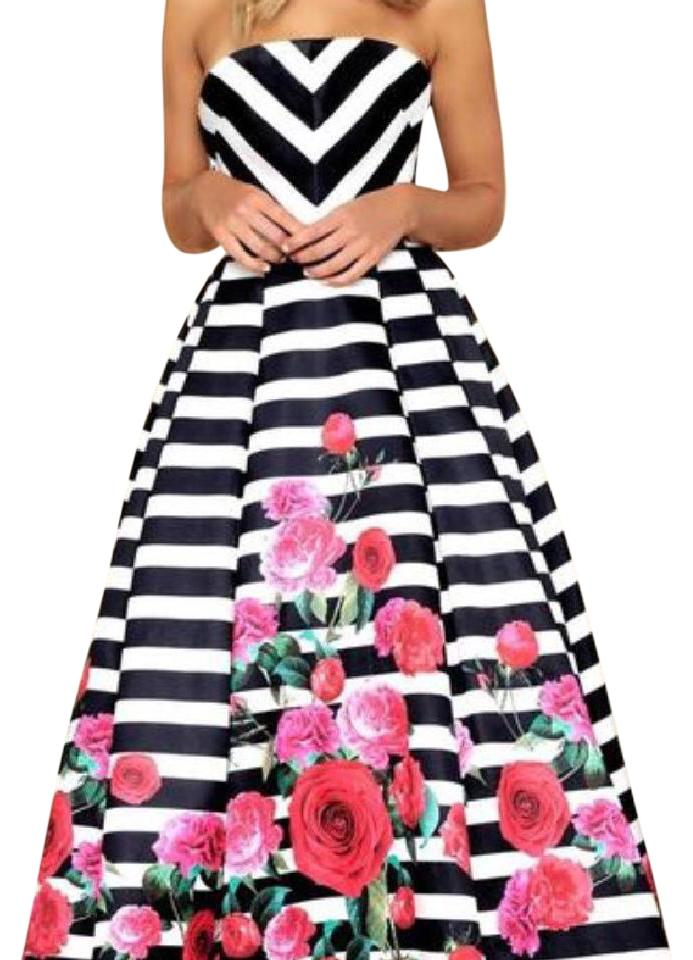 Mac Duggal Couture Black/White Striped Strapless Rose Ball Gown Long ...
