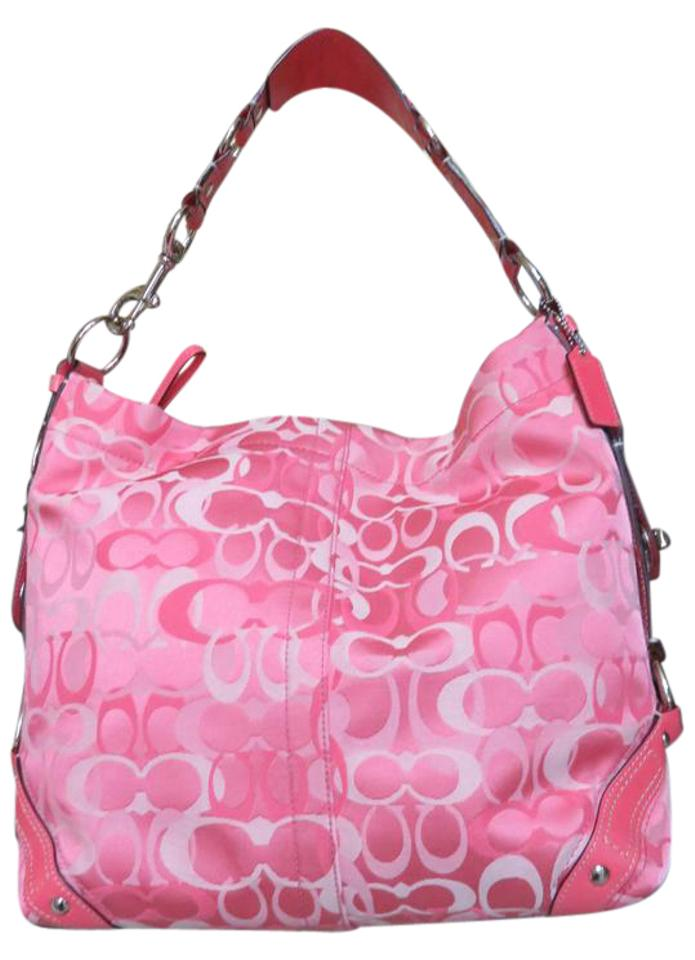 Coach Carly Large 10620 Baby Pink Leather Trimmed Fabric Shoulder ... 616d4dc774608