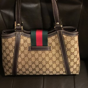 Gucci Satchel in Gucci signature fabric tan with brown leather trim