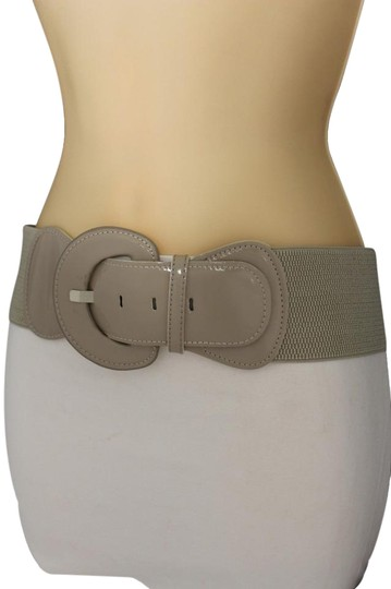 Preload https://item4.tradesy.com/images/beige-women-fashion-hip-high-waist-stretch-gray-big-buckle-plus-size-belt-21349953-0-1.jpg?width=440&height=440