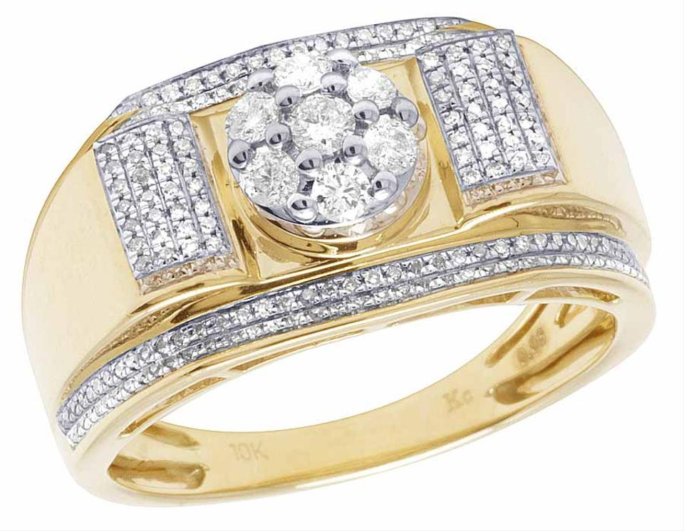 2844ffc6caf517 Other Men's 10K Yellow Gold Real Diamond Cluster Wedding Band Ring 1/2 CT  12 ...