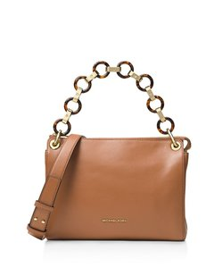 MICHAEL Michael Kors Faux-tortoise Resin Chain Links Convertible Straps Acorn/Gold Messenger Bag