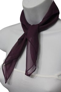 Alwaystyle4you Women Small Neck Tie Scarf Sheer Fabric Pocket Square Dark Purple