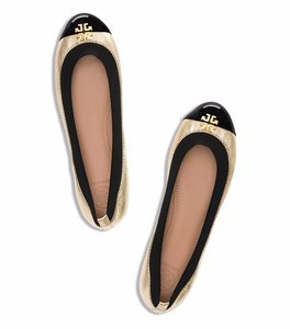 Tory Burch Gold Patent Leather Gold, Black Flats