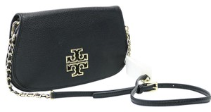 Tory Burch Leather Gold Hardware Magnetic Closure Adjustable Strap Black Clutch