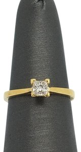 Other 18K Yellow Gold Natural Princess Cut Diamond Solitaire Ring
