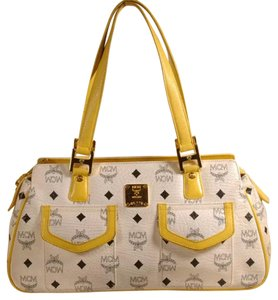 MCM Satchel in White/Yellow/Black
