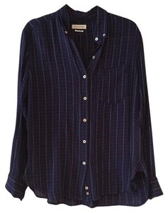 Étoile Isabel Marant Button Down Shirt navy blue red white