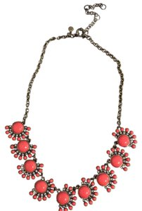 J.Crew Pink and Rhinestone Fan Necklace