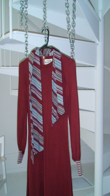 Burgundy Maxi Dress by Roncelli Vintage Knit Scarf Cottage Chic Diva