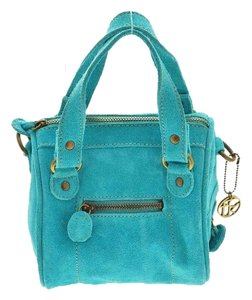 French Connection Suede Crossbody Turquoise, Aqua Blue Clutch