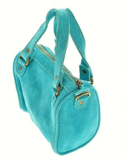French Connection Suede Crossbody Purse Turquoise, Aqua Blue Clutch