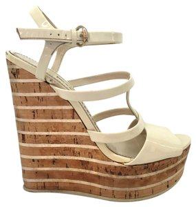Gucci Cork Strappy Patent White Wedges