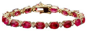 Other 26.90Ct Natural Ruby & Diamond 14K Solid Yellow Gold Bracelet
