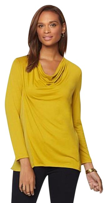 Preload https://img-static.tradesy.com/item/21351336/jones-new-york-yellow-moss-mustard-mixed-media-blouse-size-22-plus-2x-0-1-650-650.jpg