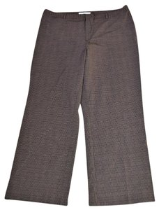 Old Navy Machine Washable Polyester Flat Straight Pants BROWN PLAID
