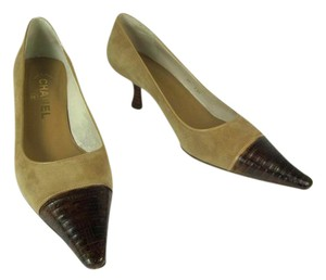 Chanel Beige Leather Python Exotic Brown Pumps