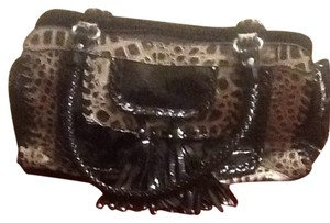Madi Claire Satchel in Black And Crocodile Pattern