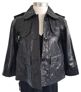 Theory Oberon Patent Leather Cropped Style Leather Leather Jacket