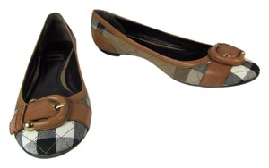 Burberry Brown Leater Nova Check Sandals Flats
